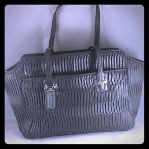 Coach Taylor Gathered Gray Leather Alexis Satchell